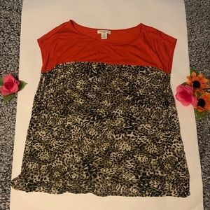 Red and Cheetah Print Liz Claiborne Top